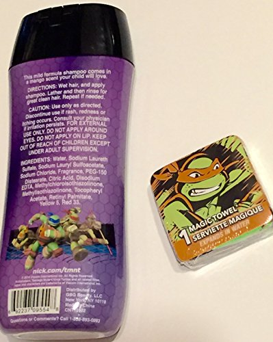 Turtle Power TMNT Teenage Mutant Ninja Turtle Conditioning Shampoo and Magic Washcloth Towel Mutant Mango Scent 8 fl oz
