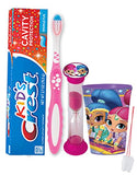 "Disney ""Shimmer And Shine"" Inspired 4pc Bright Smile Hygiene Set! Toothbrush, Toothpaste, Timer & Mouthwash Cup! Plus Bonus Tooth Necklace"