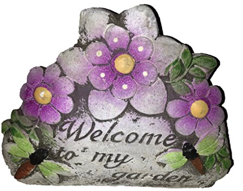 Cute Garden Stones with Flowers (2pcs) Welcome to My Garden Love My Garden