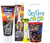 Jurassic World 4pc Smile Oral Hygiene Bundle Turbo Spin Toothbrush, Toothpaste, Timer & Rinse Cup Plus Dental Gift Bag & Tooth Saver Necklace