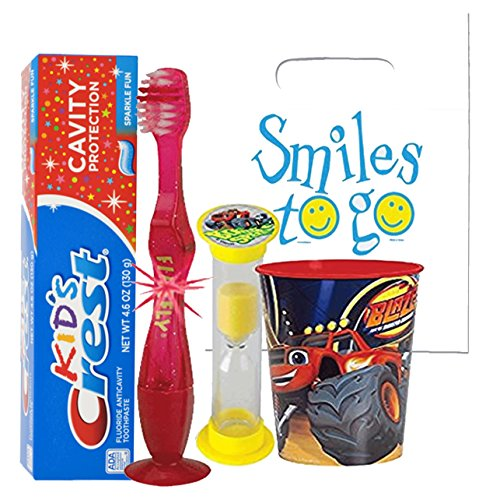 Blaze and The Monster Machines Inspired 4pc Bright Smile Hygiene set! Light Up Toothbrush, Toothpaste, Timer & Cup!  Plus Bonus Tooth Necklace