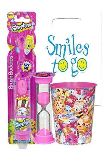 Shopkins Inspired 3pc Bright Oral Hygiene Bundle Turbo Spin Toothbrush, Timer & Rinse Cup Plus Dental Gift Bag & Necklace