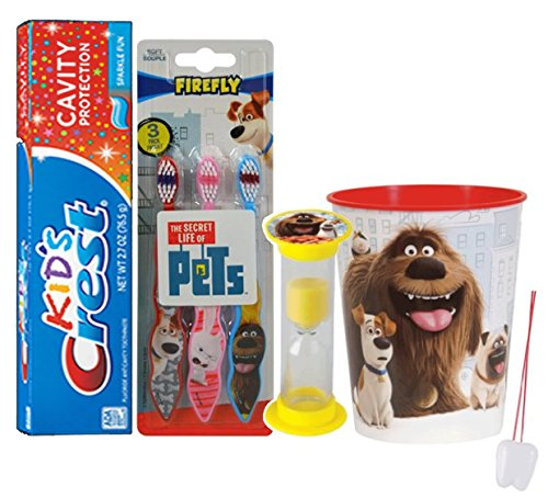 """The Secret Life Of Pets"" Inspired 6pc Bright Smile Oral Hygiene Set! 3pk Toothbrush, Toothpaste, Timer & Rinse Cup! Plus Bonus Tooth Necklace"