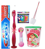 Strawberry Shortcake Inspired 4pc Bright Smile Hygiene Bundle! Flashing Lights Toothbrush, Toothpaste, Timer & Rinse Cup! Plus Tooth Necklace!
