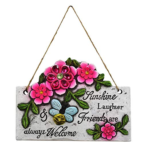 Garden Collection Spring Cement Hanging Plaque with Inspirational Sayings Sunshine, Laughter, Friends are Always Welcome