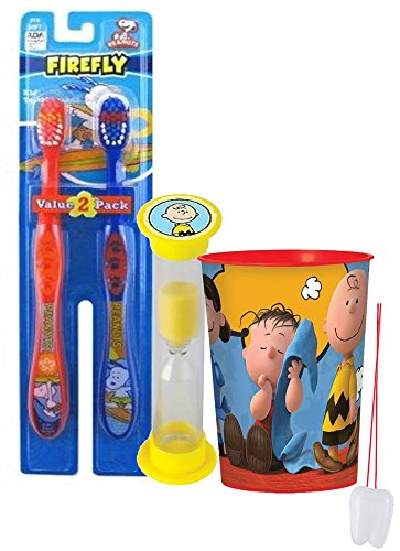 Peanuts Inspired 4pc Bright Smile Hygiene Set! Snoopy Themed 2pk Toothbrushes, Charlie Brown Timer & Rinse Cup! Plus Bonus Tooth Necklace