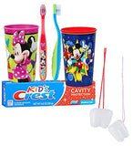 Mickey Mouse & Minnie Mouse Inspired 5pc. Bright Smile Hygiene Set! Toothbrush, Toothpaste & Mouthwash Plus Bonus Tooth Necklace