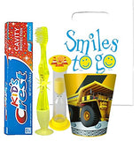 Under Constrution Inspired 4pc Bright Smile Oral Hygiene Bundle! Light Up Toothbrush, Toothpaste, Timer & Rinse Cup!  Plus Bonus Tooth Necklace