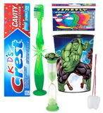 Avengers Hulk Inspired 4pc Bright Smile Hygiene set! Light Up Toothbrush, Toothpaste, Brushing Timer & Rinse Cup! Plus Bonus Tooth Necklace
