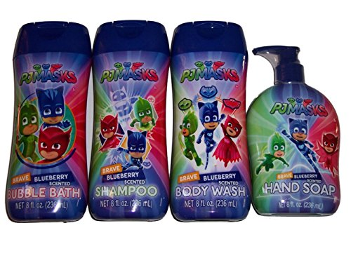 PJ Masks Bath Bundle of 4: Brave Blueberry Shampoo, Bath Bubbles, Body Wash and Hand Soap