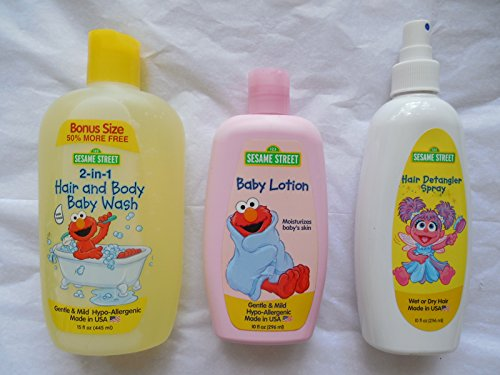 Sesame Street Body Hair Wash , Hair Detangler Spray, Baby Lotion BUNDLE of 3 Products
