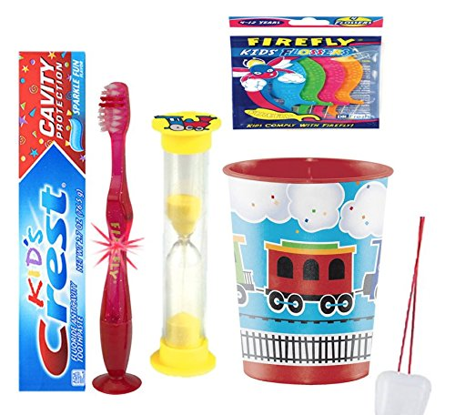 Train inspired 4pcs Bright Smile Oral Set! Toothpaste, Flashing Light Toothbrush, Brushing Timer & Rinse Cup! Plus Bonus Tooth Necklace!