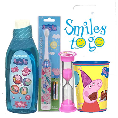 Peppa Pig 4pc Bright Smile Oral Hygiene Bundle! Turbo Spin Toothbrush, Mouthwash, Timer & rinse Cup! P Plus Bonus Tooth Necklace