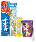 "Disney""Tinkerbell"" Inspired 4pc Bright Smile Hygiene Set! Toothbrush, Toothpaste, Brushing Timer & Mouthwash rinse Cup!Plus Bonus Tooth Necklace!"