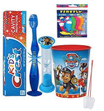 Paw Patrol Chase Inspired 4pc Bright Smile Oral Hygiene Bundle! Flashing Lights Toothbrush, Toothpaste, Timer & Cup! Plus Bonus Tooth Necklace