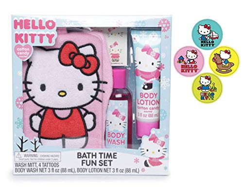Hello Kitty Kids Bath Time Fun Set, Cotton Candy-Mitt, Tattoo, Body Wash, Lotion bundle with stickers