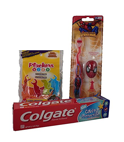 Childrens Dental Care Bundle with Colgate Bubble Fruit Toothpaste 2.7 oz, Plackers Dental Flossers, and Dr. Fresh Spiderman Toothbrush and Cover