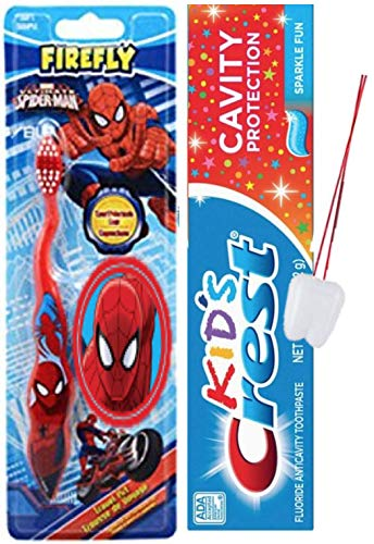 Children's Soft Toothbrush Travel Kit Bundle - Spider-Man with Suction Cup and 2.7 Oz Kids Crest Toothpaste Sparkle Fun Flavor 2pcs