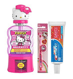 Ready Set Brush Hello Kitty Manual Toothbrushes with Cap, Crest Kids Toothpaste, Melon Kiss Flavor Anticavity Fluoride Rinse, 14 fl oz