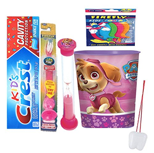 Paw Patrol Sky Inspired 4pcs Bright Smile Oral Set! Toothpaste, Flashing Light Toothbrush, Brushing Timer & Rinse Cup!Plus Bonus Tooth Necklace!