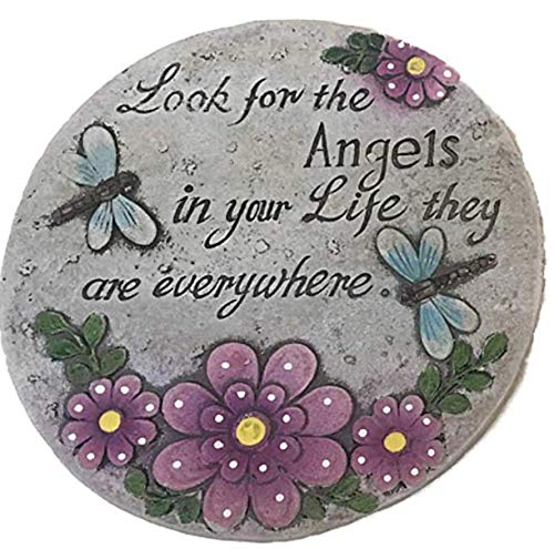 BH Cement Stepping Stone 7 inch Round with 3 Different Inspirational Messages (Pack of 3)