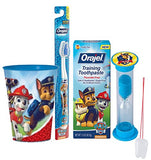 "Paw Patrol ""Chase"" Inspired 4pc Oral Hygiene Set! Includes Toothbrush, Toothpaste, Pup Brushing Timer & Mouthwash Rinse Cup! Plus Bonus Tooth Necklace"