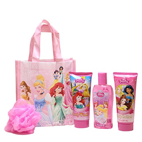 Disney Princess Bath Time Fun Pack Bubble Bath, Body Wash, Body Lotion, Pink Mesh Bath Pouf in a Reusable Princess Tote Bag
