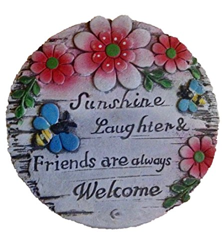 "Garden Decor! Gardening Stone or Plaque (1, RED) "" Sunshine, Laughter & Friends are always Welcome"""