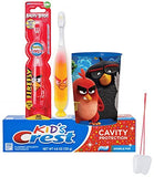 Angry Birds Chuck Inspired 3pc Bright Smile Oral Hygiene Bundle! Angry Birds Light Up Timer Toothbrush, Toothpaste & Cup! Plus Bonus Tooth Necklace!