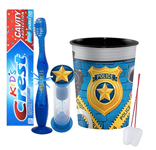 Police Inspired 4pcs Bright Smile Oral Set! Toothpaste, Flashing Light Toothbrush, Brushing Timer & Rinse Cup! Plus Bonus Tooth Necklace!