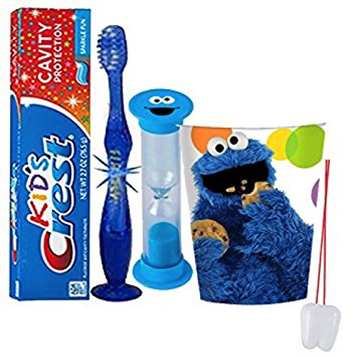"Sesame Street ""Cookie Monster"" Inspired 4pc Bright Smile Oral Set! Flashing Lights Toothbrush, Toothpaste, Timer & Cup! Plus Bonus Tooth Necklace"
