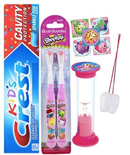 Shopkins Bright Smile Oral Hygiene Bundle Shopkins 2 Pk Toothbrush, Crest Kids Sparkling Toothpaste Bundle Plus Bonus Timer, Stickers and Visual Aid