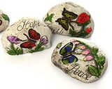 Bonita Home Garden Decor Stones with Butterfly & Message with Inspirational Word (Pack of 3: Hope, Faith, Peace)