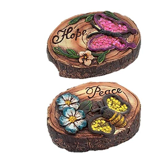 Land of Wood Garden Collection Woodland Round Cement Decorative Stones (2, red)