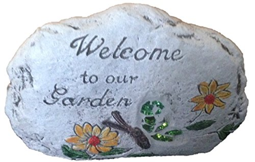 "Decorative Garden Stone with stain glass and Message: (one stone) ""Welcome to Our Garden"":"