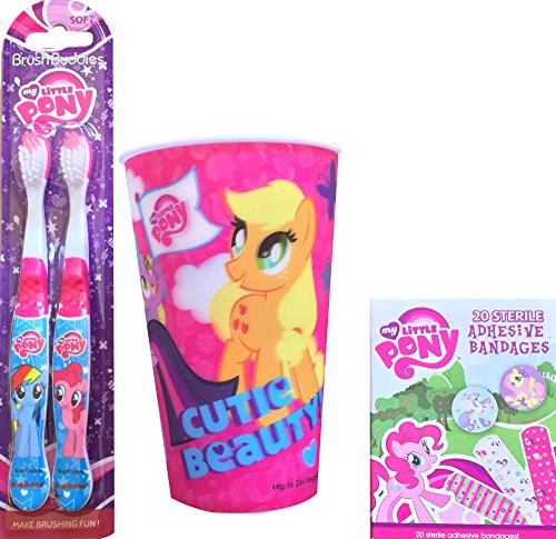 My Little Pony Children's Toothbrush with My Little Pony Rinsing Cup and My Little Pony 20 Sterile Adhesive Bandages