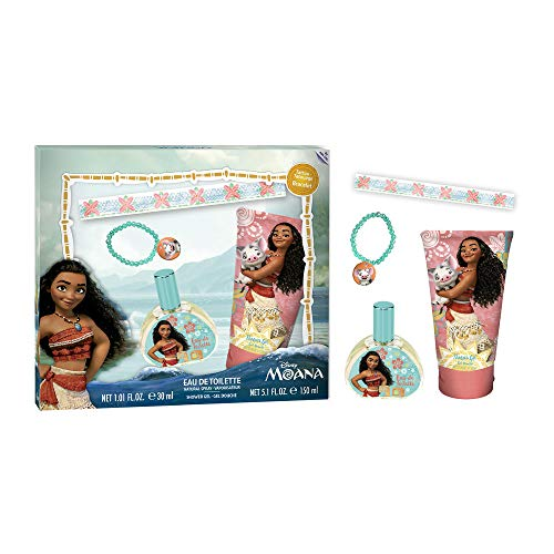 Disney Moana by Disney for Kids - 4 Pc Gift Set 3.4oz EDT Spray, 5.1oz Shower Gel, Bracelet, Tattoo set