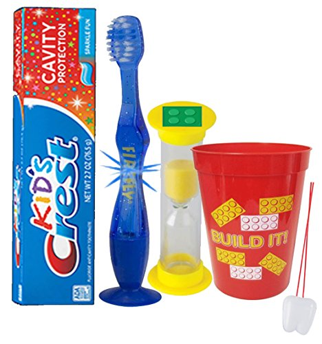 """Build It"" Bricks Inspired 4pc Bright Smile Oral Set! Soft Manual Toothbrush, Toothpaste, Brushing Timer & rinse Cup! Plus Bonus Tooth Necklace"