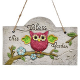 Hanging Cement Plaque with Owl Bless this Garden