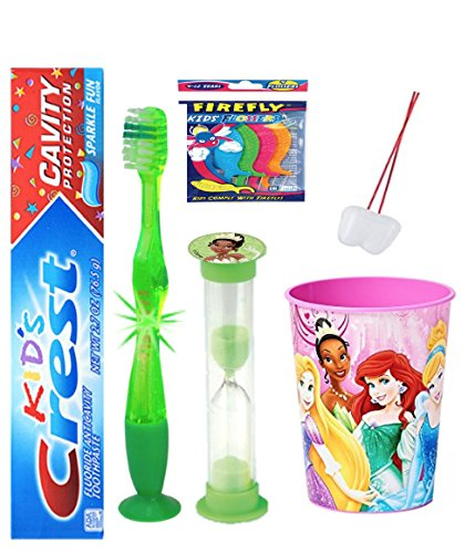 The Princess and the Frog Inspired 4pc Bright Smile Hygiene Set! Flashing Lights Toothbrush, Toothpaste, Timer & Cup! Plus Bonus Tooth Necklace!