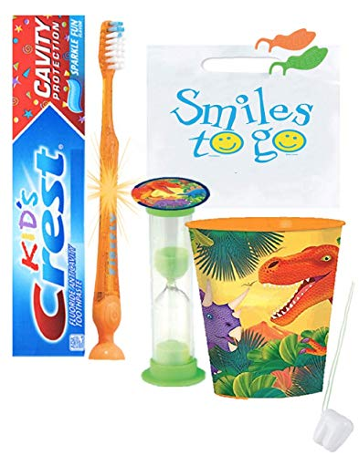 Dinosaur 4pc Bright Smile Oral Hygiene Bundle! Light Up Toothbrush, Toothpaste, Brushing Timer & Mouthwash rinse Cup! Plus Bonus Tooth Necklace