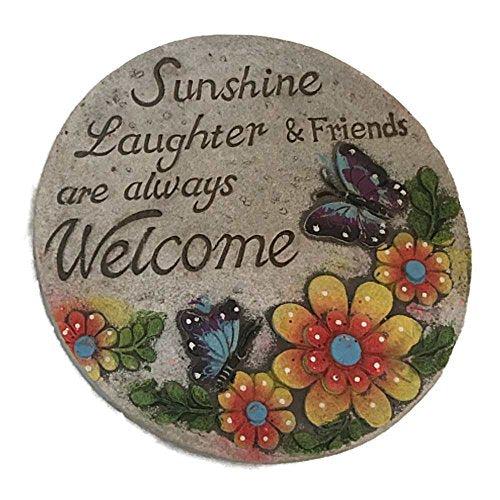 Greenbrier Cement Stepping Stone 7 inch Round (Sunshine, Laughter and Friends W/Yellow and Orange Flower and Butterflies)