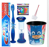 PJ Masks Catboy inspired 4pc Bright Smile Hygiene Set! Flashing Lights Toothbrush, Toothpaste, Timer & Cup Plus Tooth Necklace