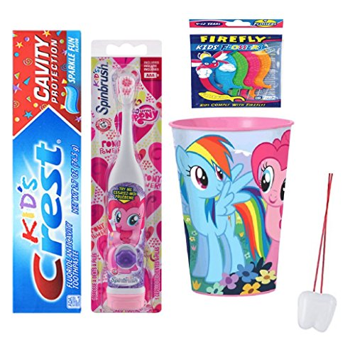 My Little Pony Pinkie Pie Inspired 3pc Bright Smile Oral Care Bundle! Turbo Powered Toothbrush, Toothpaste & Rinse Cup! Plus Bonus Tooth Necklace!