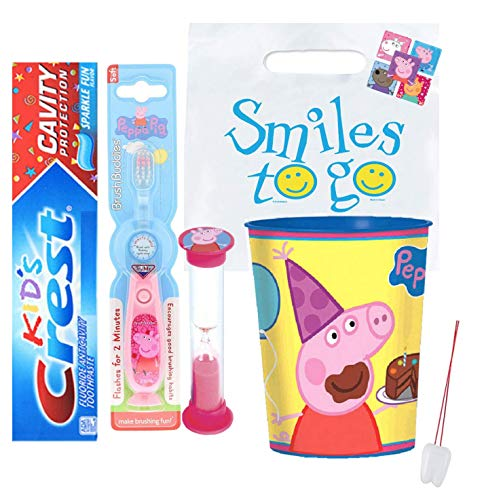 Peppa Pig Inspired 4pc Bright Smile Oral Hygiene Bundle! Light Up Toothbrush, Toothpaste, Brushing Timer & Mouthwash Rinse Cup! Plus Bonus Remember to Brush Visual Aid!