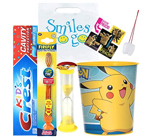Detective Pikachu Inspired 4pcs Bright Smile Set! Toothpaste, Flashing Light Toothbrush, Timer &Cup! Plus Bonus Stickers & Tooth Necklace
