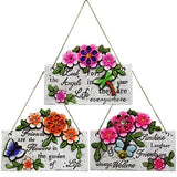 Garden Collection Spring Cement Hanging Plaque with Inspirational Sayings and Sparkly Gemstones Set of 3