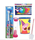 Nickelodeon Peppa Pig Inspired 3pcs Bright Smile Oral bundle! Turbo Toothbrush, Brushing Timer & Rinse Cup!Plus Bonus Tooth Necklace
