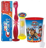 "Paw Patrol ""Marshall"" Inspired 4pc Bright Smile Oral Hygiene Set! Flashing Lights Toothbrush, Toothpaste, Timer & Cup! Plus Bonus Tooth Necklace"