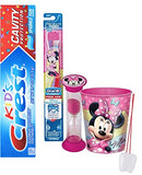 Disney Minnie Mouse Inspired 3pc. Bright Oral Hygiene Set Soft Manual Toothbrush, Crest Kids Sparkle Toothpaste & Rinse Cup Plus Bonus Visual Aid